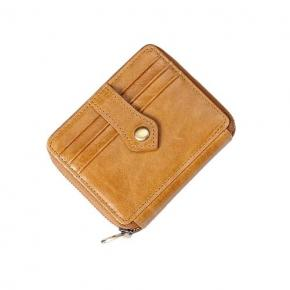 Mens Leather Wallet Business ID Card Holder Billfold Zip Purse Wallet